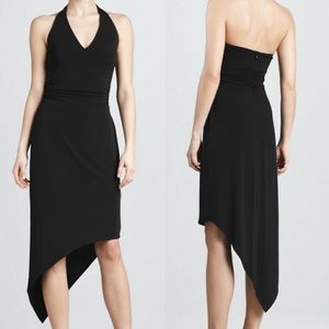 David Meister Hem Halter Asymmetric Black Dress 6